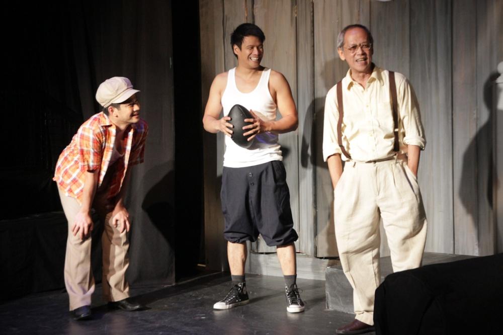 from left: Ricardo Magno (Happy), Yul Servo (Biff) and Nanding Josef (Willy). PAHIMAKAS SA ISANG AHENTE (DEATH OF A SALESMAN) of Tanghalang Pilipino runs from September 26 to October 19, 2014 at the Tanghalang Huseng Batute Theater, CCP. Photo by Jude Bautista