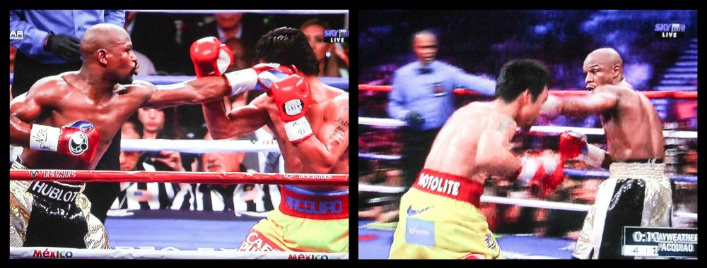 Mayweather lands his jab counter but does not hurt Pacquiao.